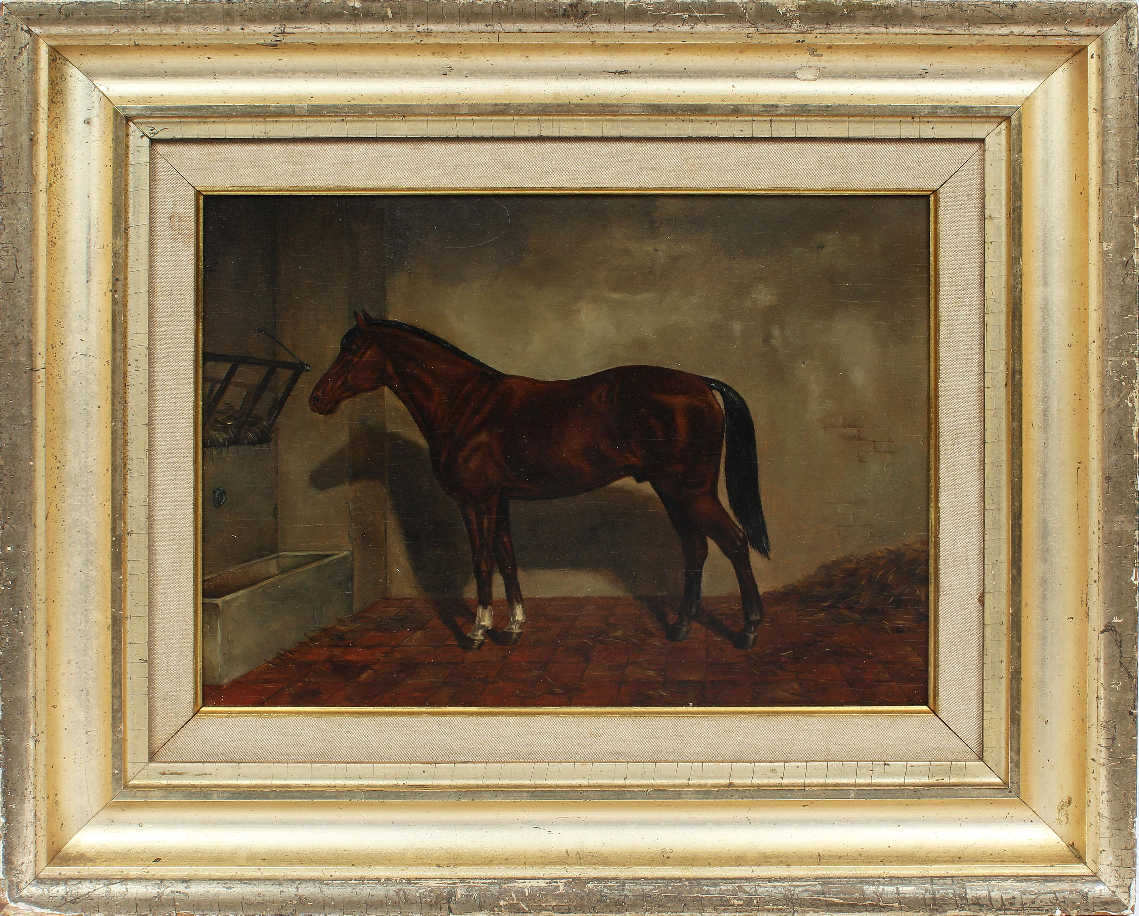 Antique Early American 19th Century Horse Portrait Barn Signed Oil Painting
