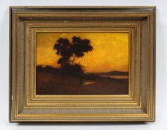 Antique Early American Hudson River School Sunset Landscape Signed Oil Painting