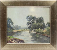Antique Early American Luminous Connecticut River Summer Original Oil Painting