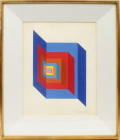 Antique Early American Modernist Geometric Gouache Signed Original Painting