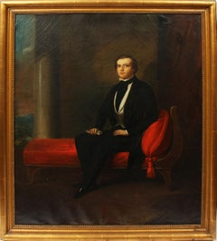 Antique Early American School Classic Interior Male Portrait Large Oil Painting