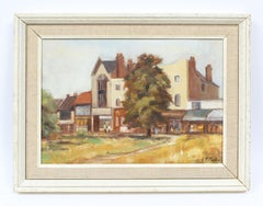 Antique English Countryside Impressionist Signed Castle Landscape Oil Painting