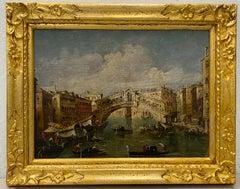 """Antique European School """"Venice, Italy"""" Original Oil Painting C.1880"""