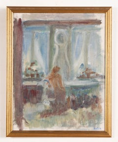 Antique Expressionist Interior Abstract Original Modern Signed Oil Painting