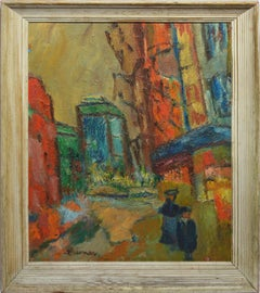 Antique Fauvist Cityscape Street View, Paris Modern School Signed Oil Painting