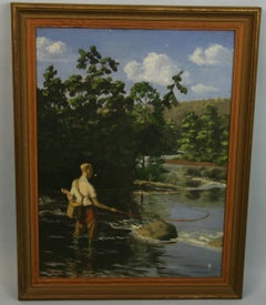 Antique Fly Fishing Figurative Landscape Oil Painting 1920
