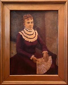 Antique Folk Art Portrait Oil Painting of Gentlelady