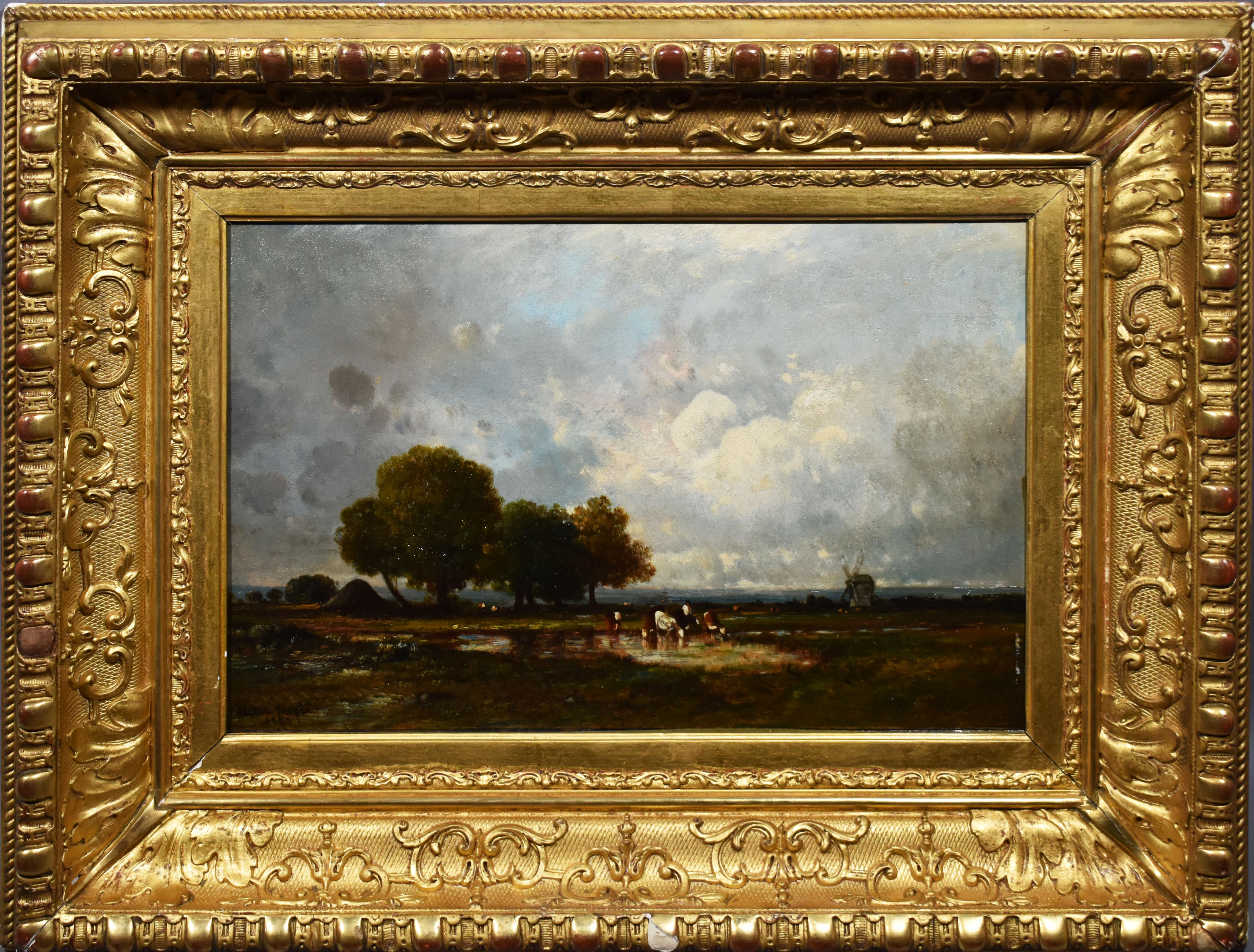 Antique French Barbizon Landscape Signed Panoramic Summer Cow 1859 Oil Painting