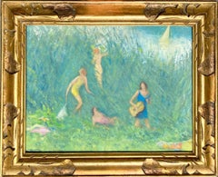 Antique French impressionist painting - Les baigneuses - Group Manet Nude