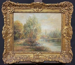 ANTIQUE FRENCH IMPRESSIONIST SIGNED OIL - FIGURE IN BOAT ON RIVER LANDSCAPE