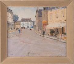 Antique French Modern Paris School Street Scene Original Gouache Painting