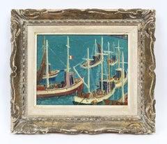 Antique French Paris Modernist Boat Seascape Monogrammed Original Oil Painting