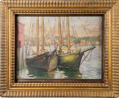 Antique Gloucester Harbor New England Fishing Boat Seascape Signed Oil Painting