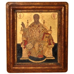 Antique Greek Orthodox 17thCentury Icon Gilded Egg Tempera Christ Enthroned 1650
