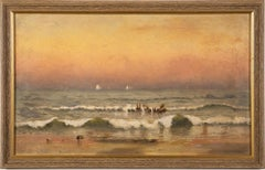 Antique Hudson River School East Hampton Beach Sunset Landscape Oil Painting