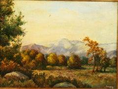 Antique Hudson River School Landscape Oil Painting