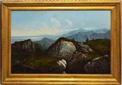 Antique Hudson River School Mountain Landscape Oil Painting with Figure