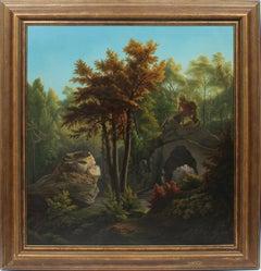 Antique Hudson River School Native American Indian Forest Landscape Oil Painting