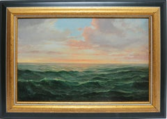 Antique Hudson River School Panoramic Coastal View with Sunset