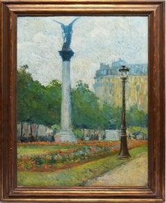 Antique Impressionist Oil Painting of Paris, July Column, Place de la Bastille
