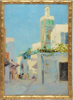 Antique Impressionist Orientalist Street Scene Panoramic Vibrant Oil Painting