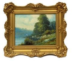 Antique Impressionist Painting Fisherman Blue Green Original Ornate Frame 1900