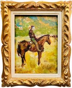Antique Impressionist Painting of a Cowboy in a landscape - Horse Farm Ca. 1940s
