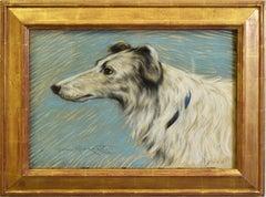 Antique Impressionist Portrait Painting of a Hound Dog