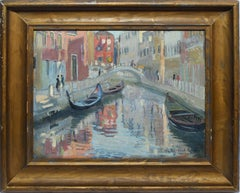 Antique Impressionist View of Venice Italy, Oil Painting by William Bernard Reid