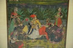 Antique Indian Landscape Figural Gouache
