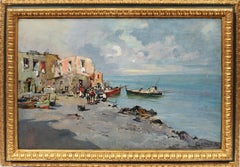 Antique Italian Coastal Sunset Fishing Village Signed Impressionist Oil Painting