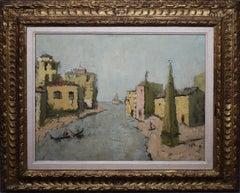 Antique Italian Modernist Venice Cityscape Painting Original Carved Gilt Frame