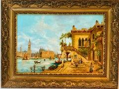 Antique Italian painting - Capriccio of Venice - Cityscape Canal