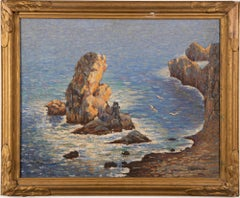 Antique Italian Pointillist Coastal Seascape Signed Panoramic Beach Oil Painting