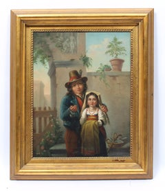 Antique Italian Realist Oil Painting Portrait of Two Children in a Landscape