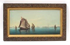 Antique Italian School Oil Painting of Ships in the Harbor
