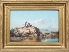 Antique Italian Sicilian Picnic Vesuvius Landscape Genre Original Oil Painting