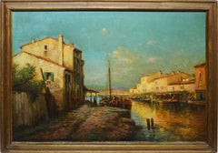 Antique Italian Sunset View of Venice, Large 19th Century Signed Oil Painting