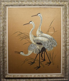 Antique Large Asian Chinese Modern Animal Portrait of Cranes Original Painting