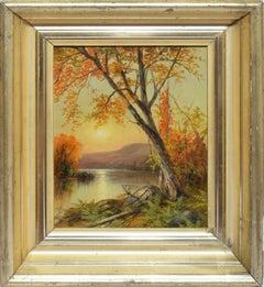 Antique Luminous Hudson River School Sunset Landscape Oil Painting Signed Cole
