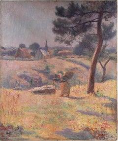 Antique Major French Impressionist Paris School Landscape Oil Painting