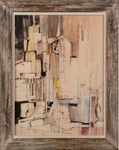 Antique Mid Century Modern Cubist Abstract Cityscape Signed Framed Painting