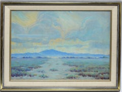 "Antique Nevada Desert Valley Sunset Oil Painting Monogrammed ""MB"""