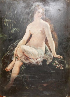 Antique Nude Oil Painting, 19th Century. Bath Mermaid on the Lake.