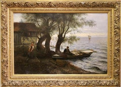 Antique oil Painting, atmospheric Seascape. 19th Century. Oil on canvas.