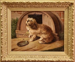 Antique Oil Painting, Dog Portrait, 19th Century, signed and dated.
