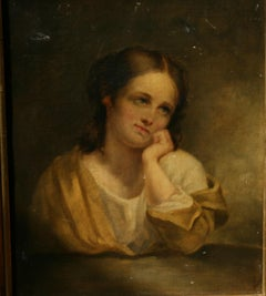 Antique Oil Painting Female English Maiden Late 19th Century