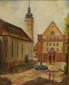 Antique Oil Painting German Town Square 1920