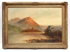 Antique Oil Painting Gold Frame 19th Century River Sunset Mountain Castle Rare