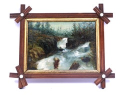 Antique Oil Painting Hudson River Waterfall Painting Catskills New York Frame